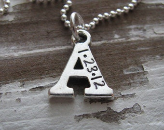 personalized initial necklace - customize with date