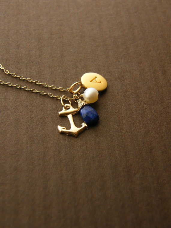 Personalized Anchor Charm Initial Pendant And Gemstone