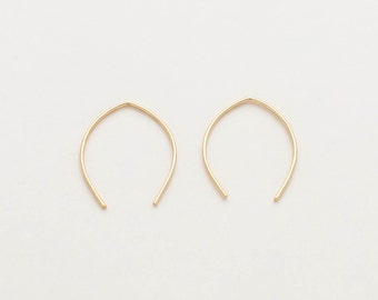 Simple Thin ARC Wire Hoop Earrings - Elegant 14K Gold Filled Threader Earrings - Modern Arc Earrings Gift for her