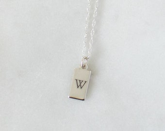 Personalized Tag Necklace, Custom Initial Tag Necklace, 925 Sterling Silver Tag Necklace Chain, Initial Tag Necklace Silver, Small Tag