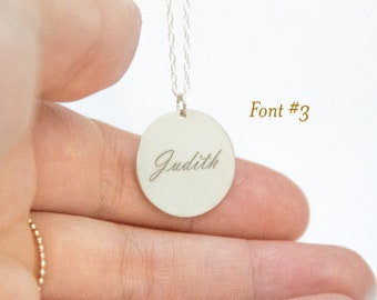925 Sterling Silver Disc Initials Necklace, Name Disc Necklace Engraved, 925 Sterling Silver Name Necklace Dainty, Personalized Gifts