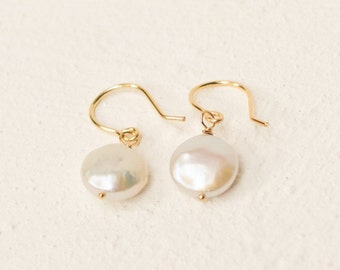 Pearl Drop Earrings - 14k Gold Filled or Sterling Silver Minimalist Jewelry Gift For Her - Round Button Pearl Earrings