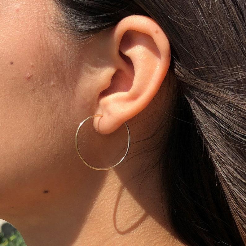 14k Gold Filled 1 Inch Skinny Hoop Earrings Tiny Gold Hoop Earrings Threader Hoop Earrings Minimalist Earrings