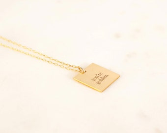 Gold Necklace with Quote Engraved, Gold Aesthetic Necklace, 14K Gold Necklace Pendant with Quote, Simple Minimalist Gold Necklace, Gift