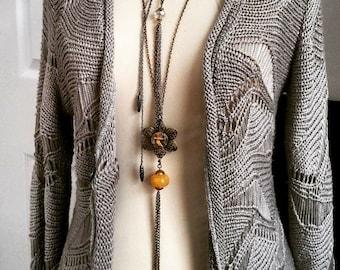 Fleur Du Temps Long Tassel Necklace - Steampunk Watch Movement Pendant - Travel Necklace, Steampunk Necklace