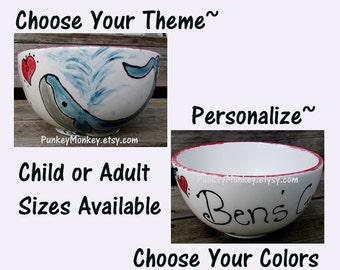 Personalized custom bowl custom ice cream bowl custom popcorn bowl custom snack bowl custom cereal bowl custom chowder soup bowl salad bowl