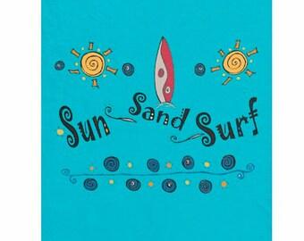 Surfboard bedding fleece blanket choose size 30x40 50x60 60x80