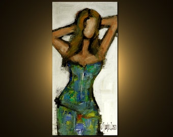 Woman - Original Painting - Modern Abstract Art by SLAZO - 24x48