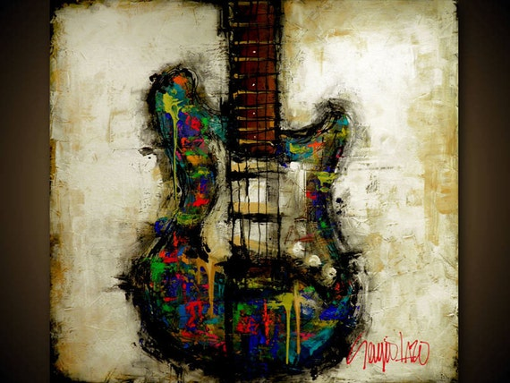 original painting modern abstract guitar art by slazo made etsy. Black Bedroom Furniture Sets. Home Design Ideas