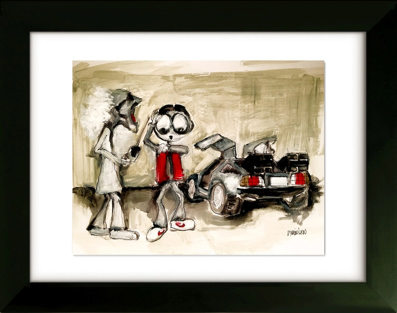 Limited Edition Drawing with Frame 16x20 Back to The Future 2015 Art by SLAZO October 21