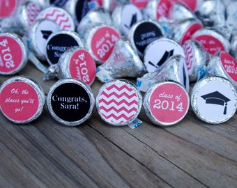 88 Hershey Kiss Labels  - Stickers for Candy Kisses - Graduation Party Favor