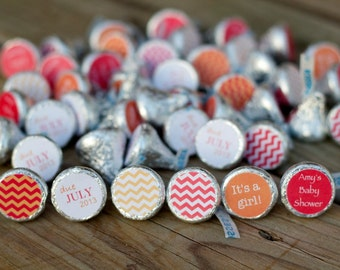 Red and Orange Baby Shower Favor - 88 Hershey Kiss Labels - Stickers for Candy Kisses