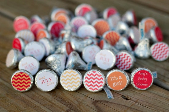 Red And Orange Baby Shower Favor 88 Hershey Kiss Labels Etsy