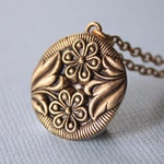 Bronze Double Daisy Pendant Necklace