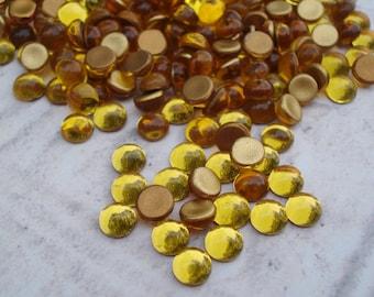 5mm Topaz Czech Preciosa Gold Foiled Flat Back Round Glass Cabs or Stones 24PCS