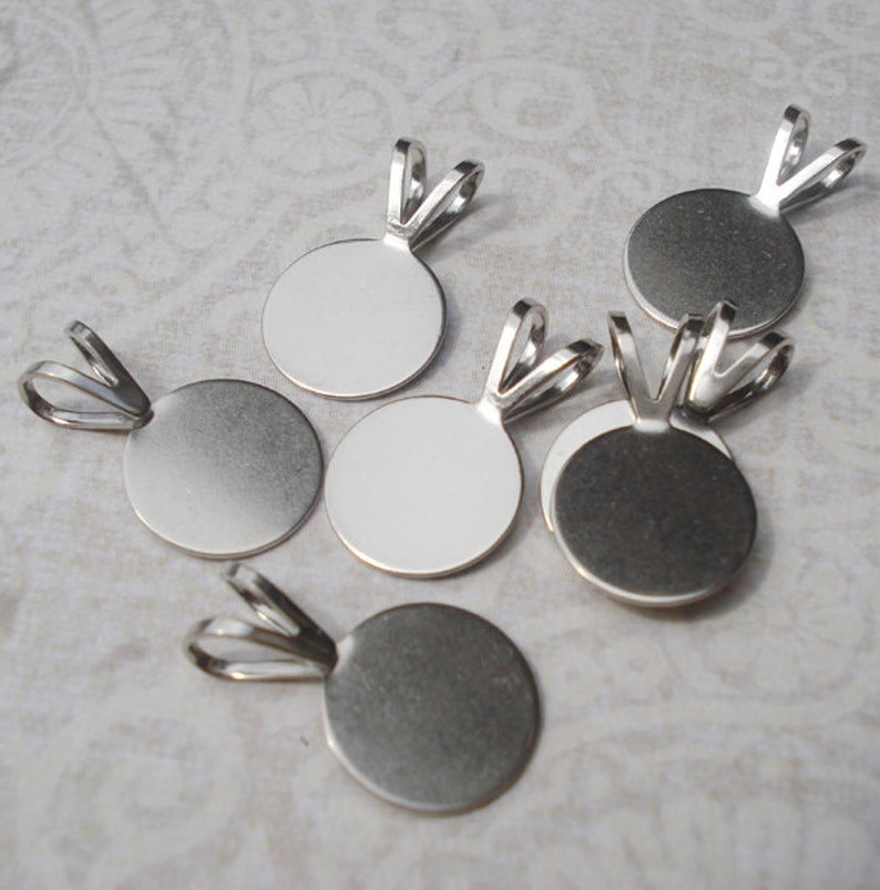 Small 7mm Silver Plated Glue On Pendant Bails for Tiles or Flat Back Cabs 12 pcs