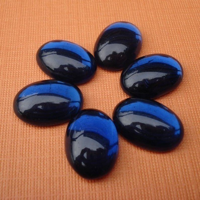 Qty 6-14x10mm Translucent Bright Sapphire Blue Glass Oval Flat Back Cabochons