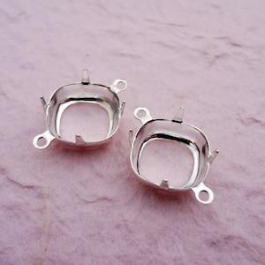 18mm x 13mm Octagon Silvertone open back prong settings ob 2 rings 12pcs l