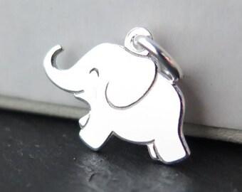Sterling Silver Elephant Pendant 12mm