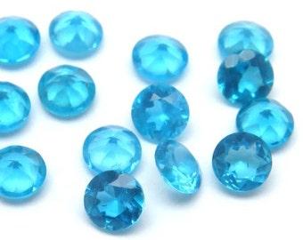 Neon Blue Apatite Brilliant Cut Round ~ Various Sizes