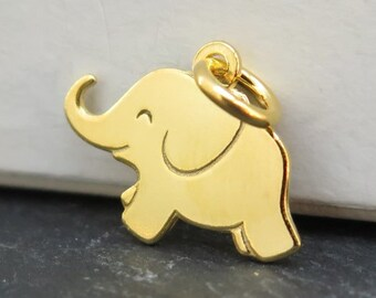 Gold over 925 Sterling Silver Elephant Pendant 12mm