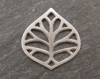 Sterling Silver Leaf Connector 14mm