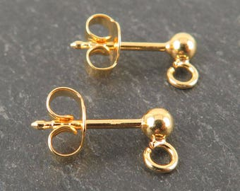 Gold Vermeil Ear Studs with Backs ~ PAIR