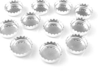 baf46edebd Tasse de lunette dentelée en argent sterling 8mm de réglage