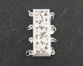 Sterling Silver Filigree Rectangular 4 Row Clasp 23mm