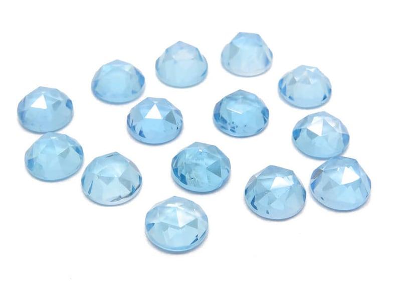 Swiss Blue Topaz Rose Cut Round Cabochon Gemstone ~ Various Sizes