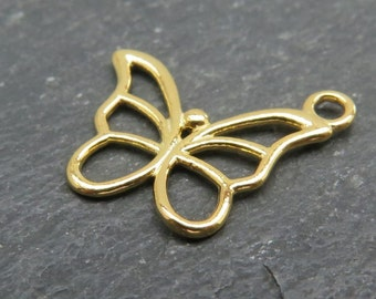 Gold over 925 Sterling Silver Butterfly Charm 15mm