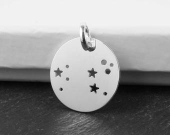 Sterling Silver Leo Constellation Pendant 18mm