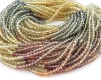 """Multi Sapphire Micro-Faceted Rondelles 2.25mm ~ 12.5"""" Strand"""