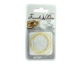 French Wire ~ Gold Colour ~ 0.7mm inner diameter