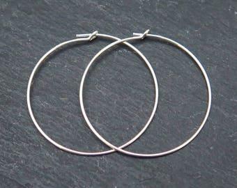 Sterling Silver Beading Hoop 30mm ~ PAIR