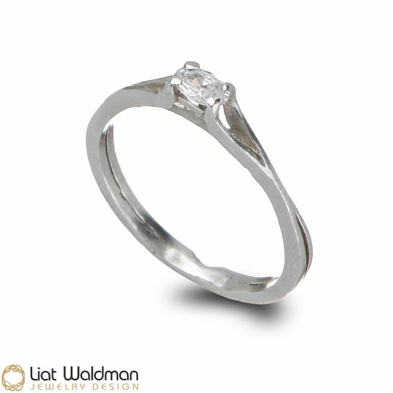 Nowoczesna architektura Delikatny pierścionek zaręczynowy Srebrny pierścionek   Etsy CG08