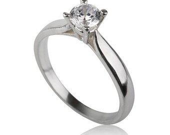 Solitaire Engagement Ring, Sterling Silver Engagement Ring, Silver and Zircon Ring
