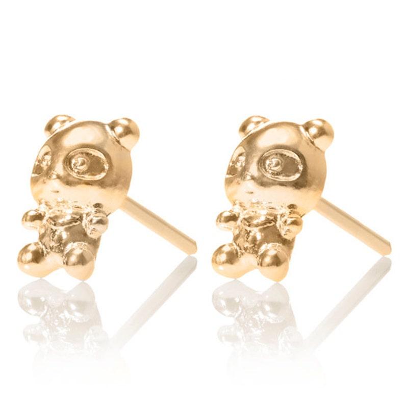 c9cf4e2e1699 Panda Stud oro pendientes zarcillos de oro pequeños