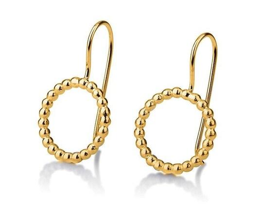 Round Gold Earrings Circle Hanging Earrings 14 Karat Gold Etsy