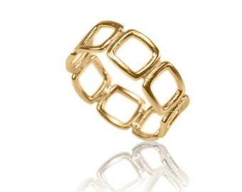 14K Gold Squares Ring , Modern Ring , Geometric Gold Ring , Everyday Ring , Simple Ring