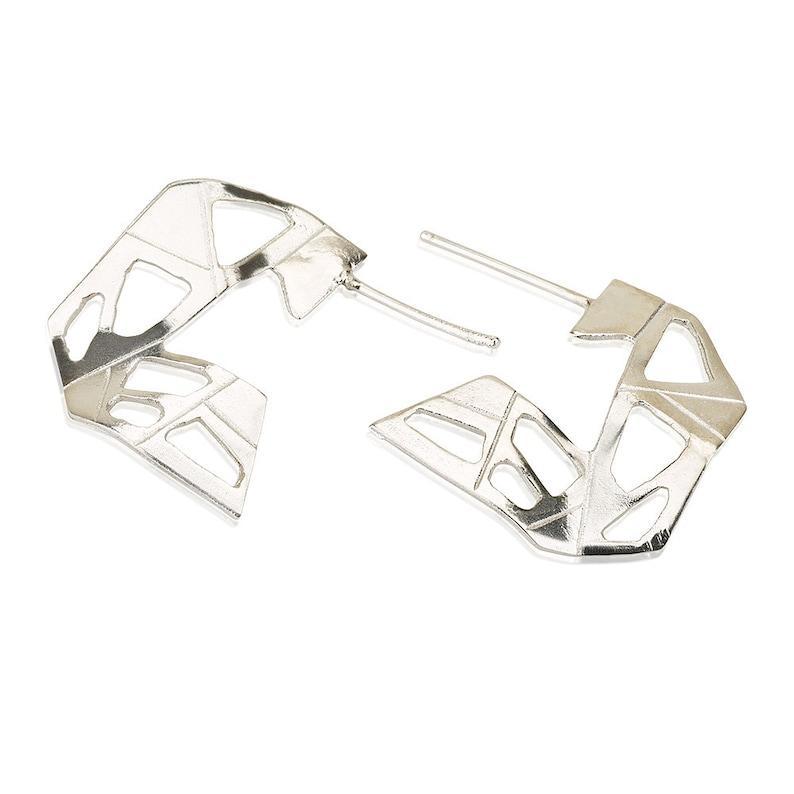 5ec34d591abfd9 Silver Geometric Earrings Abstract earrings silver Stud | Etsy