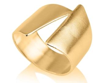 Gold Geometric Ring , 14K Gold Statment Ring , Asymmetrical Ring , diagonal ring ,Gold Ring