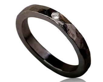 black friday sale, Oxidized Silver Zircon Engagement Ring , Boho Engagement Ring , Black Silver and Zircon Ring , Oxidized Silver Ring