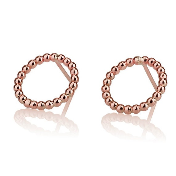 Round Rose Gold Earrings Circle Stud Earrings 14 Karat Rose Etsy