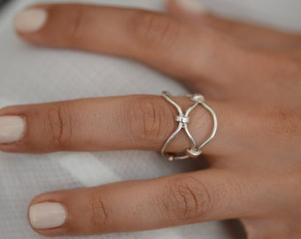 Gold Bars Ring , Delicate 14K Gold Ring , Special Design Women Ring