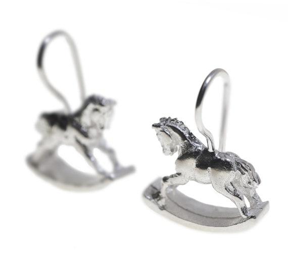 925 Sterling Silver Rocking Horse Ear Studs