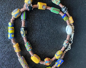 Vintage African trade beads NOS Japanese cadmium yellow bead necklace vintage Crown Derby porcelain refashioned vintage jewelry