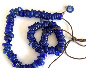 8 pieces Twisted Round Blue Glass Bead Baby Blue Bead Vintage Round Blue Glass Beads