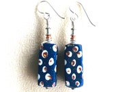 Rare African Trade Beads in Earrings.