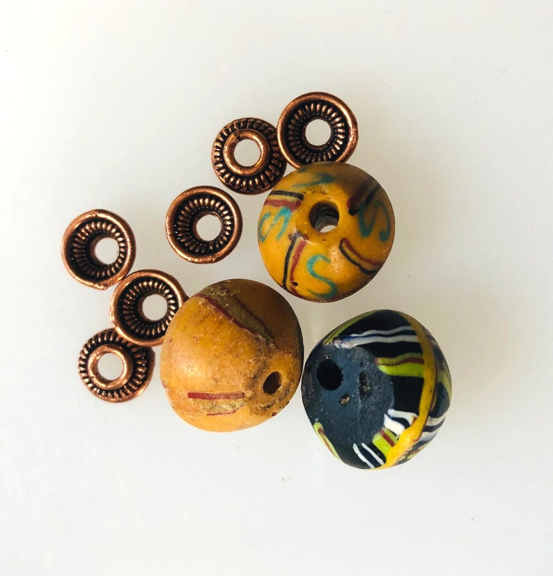 3 King Beads with Copper Bead Caps